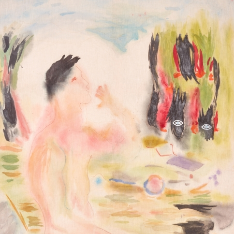Watercolor on linen painting of  young nude man kneeling amongst the hazy atmosphere of Los Angeles by Gus Van Sant