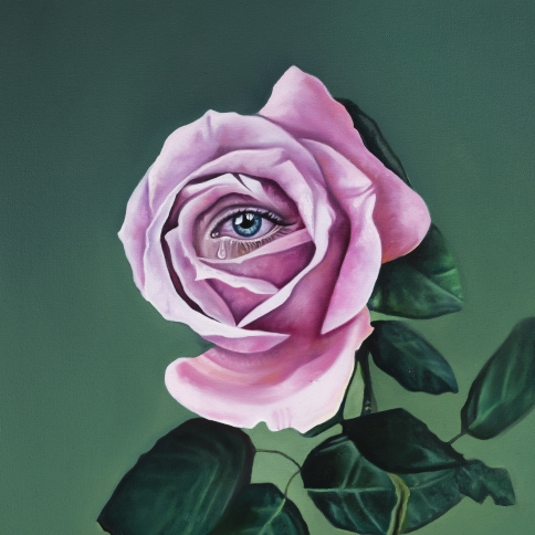 Oil painting of a pink rose with an eye in the center and a green backdrop titled Songs about Roses by Ariana Papademetropoulos