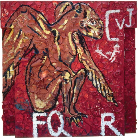 Plate painting by Julian Schnabel