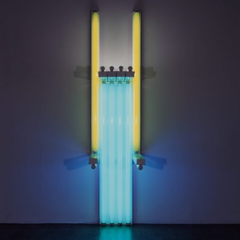 Fluorescent light sculpture in yellow. green, pink and blue by Dan Flavin