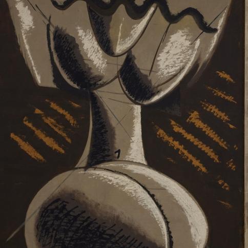 Oil painting by Man Ray titled Peinture Feminine, 1954