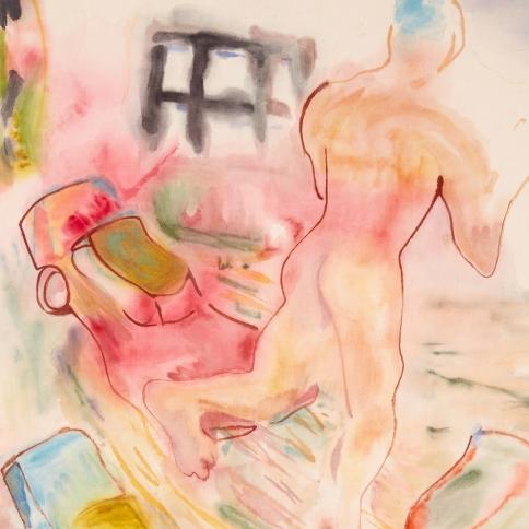 Watercolor on linen painting of a man running between traffic in Los Angeles by Gus Van Sant