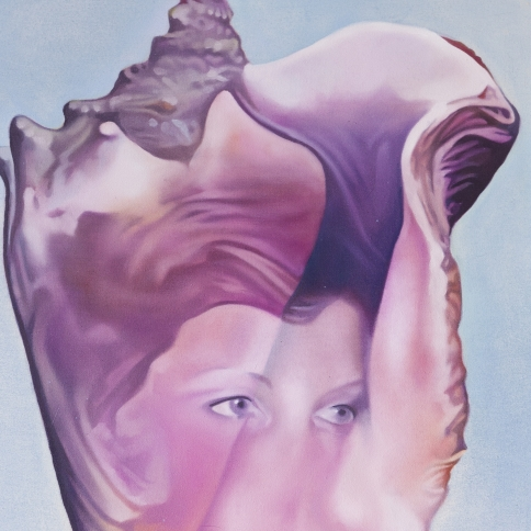 Oil on canvas painting of a pink and purple seashell with a faint image of a face inlayed by Ariana Papademetropoulos