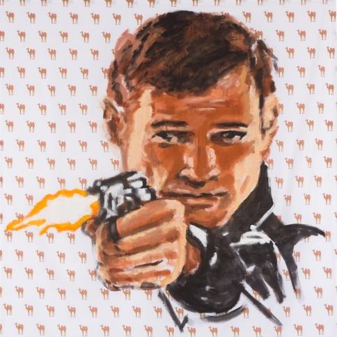 Acrylic on bedsheet painting of a man firing a gun by Walter Robinson