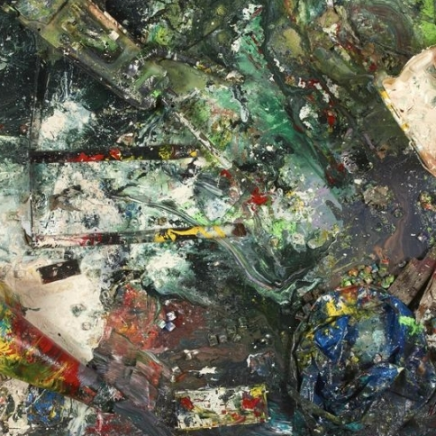 Trash and paint on canvas by Dan Colen