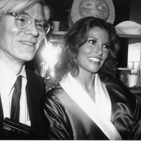 Andy Backstage with Raquel Welch by Bob Colacello