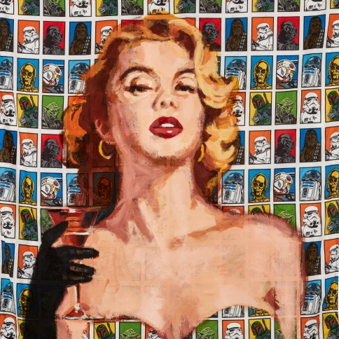 Acrylic on bedsheet painting of a femme fatale pulp romance character by Walter Robinson