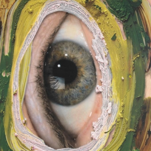 Mixed media image of a vertical eye by Urs Fischer