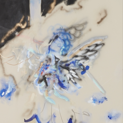 Acrylic and grease pencil on canvas painting by Robert Nava titled From Water to Sky Angel, 2020