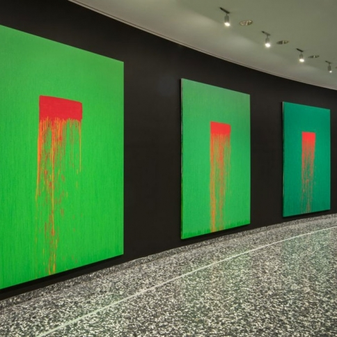 View of Pat Steir, 2020. From left: Eleven, 2018-19; Twelve, 2018-19; Thirteen, 2018-19; Fourteen, 2018-19.