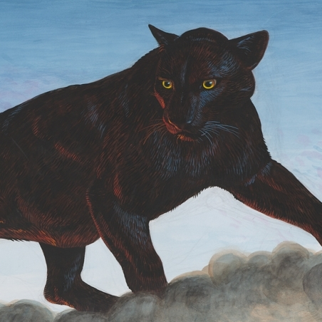 Mixed media painting on paper of a black panther atop smoke in the Swiss Alps by Walton Ford
