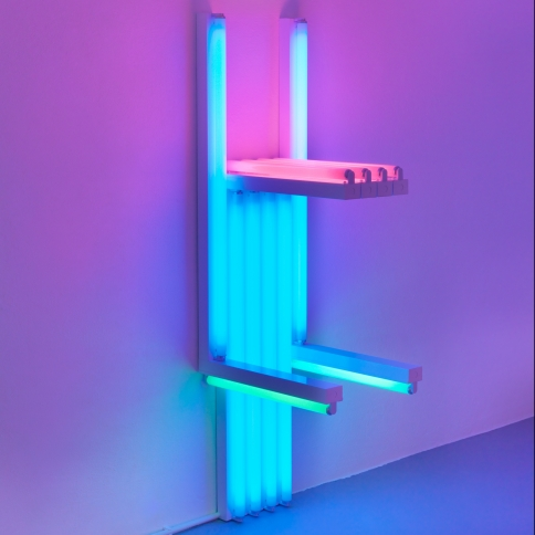Fluorescent light sculpture in blue, pink and green by Dan Flavin