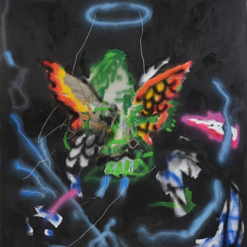 Acrylic, grease pencil and crayon on canvas painting by Robert Nava titled Night Storm Angel, 2021