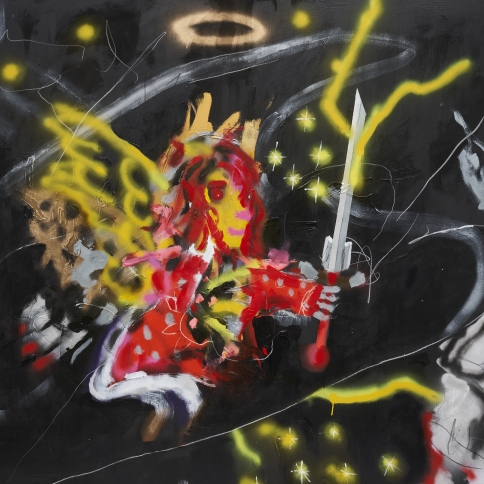 Acrylic and grease pencil on canvas painting by Robert Nava titled Star Dust Angel
