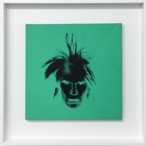 Acrylic and silkscreen ink on canvas self portrait by Andy Warhol
