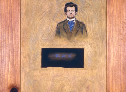 Thomas Chimes (1921–2009), Alfred Jarry (Departure from the Present), 1973, oil on panel. The Robert J. and Linda Klieger Stillman Pataphysics Collection.