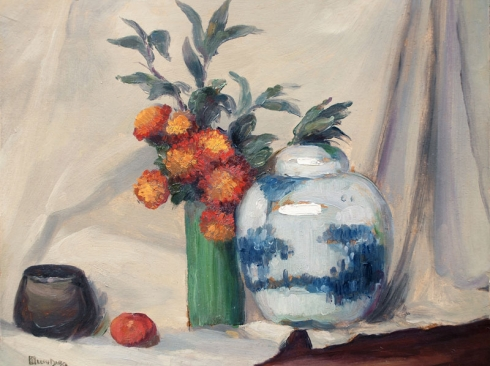 LEON DABO (1864-1960) , The Chinese Jar & Green and Brown Vases, c 1925
