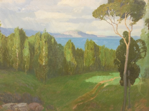 CARL OSCAR BORG (1879-1947), Santa Barbara Coast (Rincon Peak from Montecito), c. 1920s