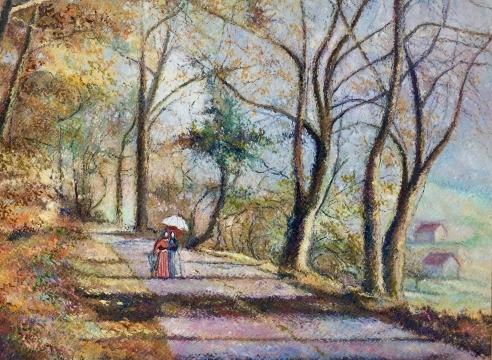 H. Claude Pissarro, Promenade au Bois, oil on canvas