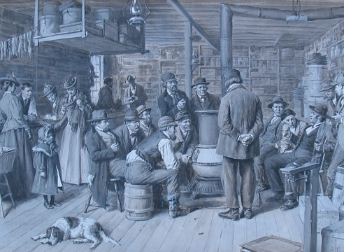 """A.B. Frost painting entitled """"The Country Store as a Social Centre""""."""