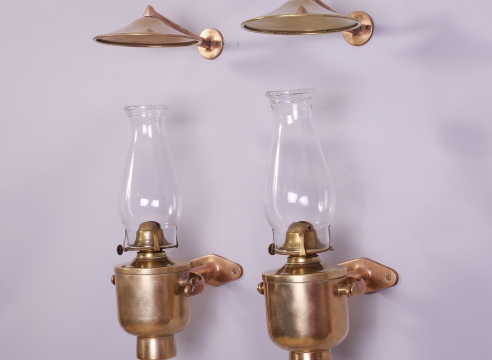 19th Century Brass Pair of Gimballed Lamps with Smoke Bells
