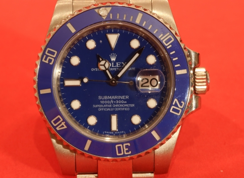 Rolex White Gold Submariner with Blue Dial