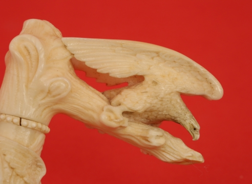 Cane with Exceptionally Carved Eagle and Patriotic Motifs