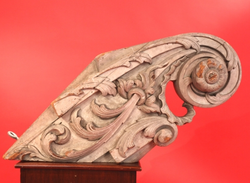 Carved Billethead with carved Acanthus Leaves Attributed to the Skillon Shop Boston