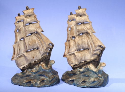 Pair of Painted Ship Cast Iron Doorstops