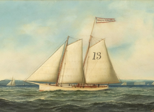 """Oil on Canvas depicting the """"Pilot Boat No. 13"""", By Antonio Jacobsen, signed and dated 1895"""