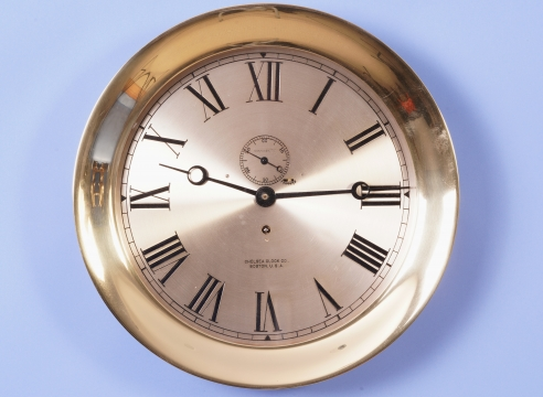 Chelsea 12 Inch Pilot House Clock in Yellow Brass Case Movement #177792