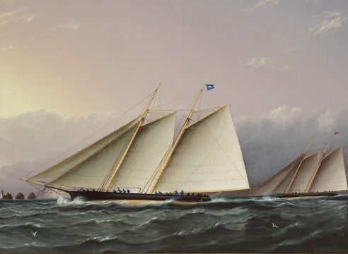 Yacht Dauntless Racing off the Needles in the 1872 International Race by JE Buttersworth