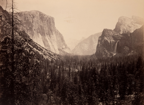 "Mammoth Plate Photograph ""Up Yosemite Valley from Mariposa Trail #27"" by Carleton Watkins"