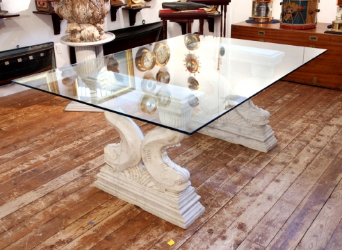Carved Marble Table with Carved Dolphins