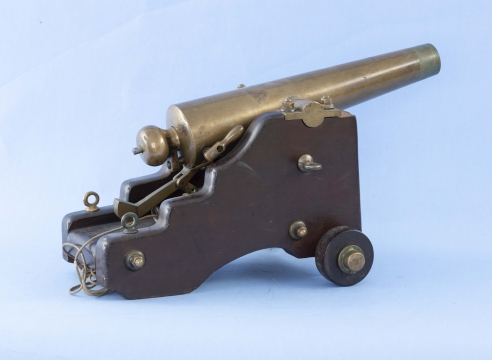 10 Gauge Brass Signal Cannon, Signed Strong Firearms New haven CT  with Rare Pull-Out Breach Block on Original Yacht Carriage, Circa 1900