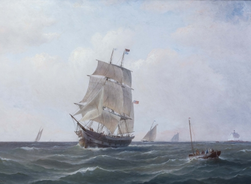 """Whale ship """"Alice B Knowles"""" off Palmer's Light New Bedford, signed and dated CH Gifford 1899"""