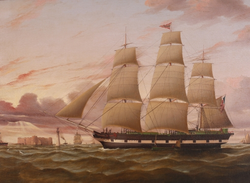 The American Ship Excelsior Arriving at Liverpool at Sunset, English, circa 1850 by Duncan McFarlane