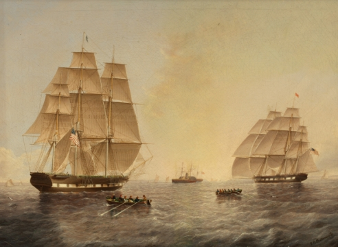 Square Riggers Leaving New York Harbor by James E. Buttersworth