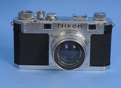 Nikon S Silver Camera Serial Number #6110074 with Nikkor F2 Lens with Original Box , Leather Case, Box and Booklet.