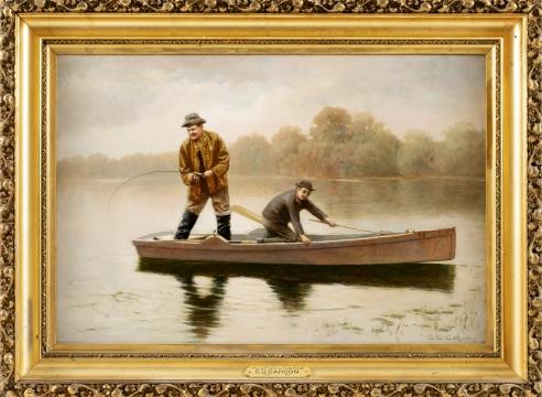 "Cahoon, Charles Davis, ""Pond Fishing Cape Cod"" signed CD Cahoon, Circa 1930"
