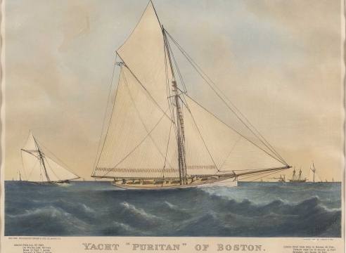 """CURRIER & IVES HAND-COLORED LITHOGRAPH """"YACHT 'PURITAN' OF BOSTON."""""""