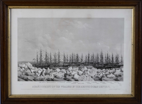 """Set of Four Black and White Prints by Benjamin Russel titled """"ABANDONMENT OF THE WHALERS IN THE ARCTIC OCEAN SEPT 1871"""