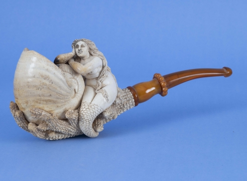 Large Meerschaum 19th Century Pipe with Mermaid and Nautilus Shell with Leather Case