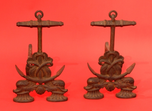 Anchor and Dolphin Andirons