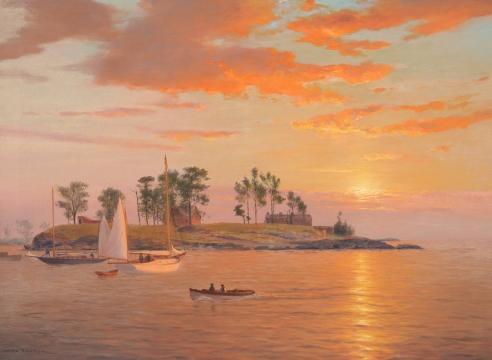 Luminous Seascape With Yachts by Warren Sheppard