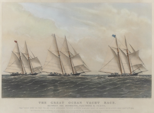 """CURRIER & IVES LITHOGRAPH """"THE GREAT OCEAN YACHT RACE ..."""""""