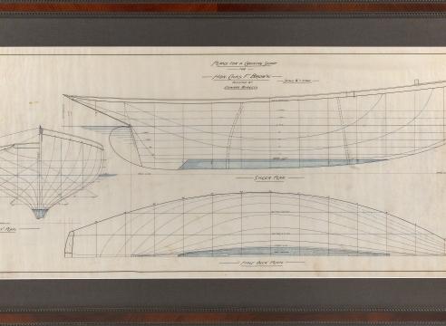 Pair of Original Line Drawings by Edward Burgess of a Crusing Sloop