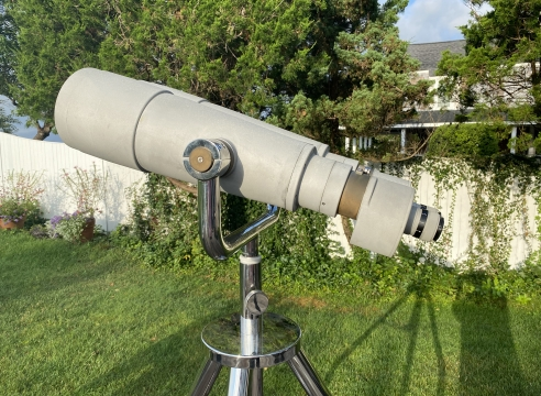 Baker Marine 25 x 150mm Big Eyes Binoculars on Custom Chrome Adjustable Height Tripod with Casters