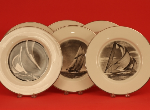 Set of Six Plates by Delano with Rosenfeld Photofraphic yachting Images