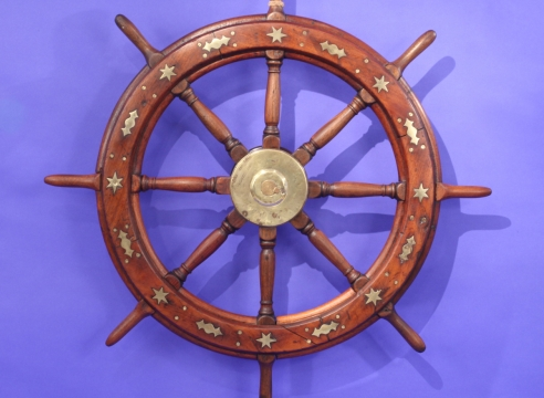 Exceptional Ship Wheel with Decorative Brass Inlay